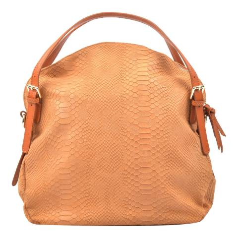 Carla Ferreri Cognac Leather Pattern Hobo Bag