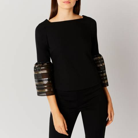 Coast Black keji Stripe Sleeve Top