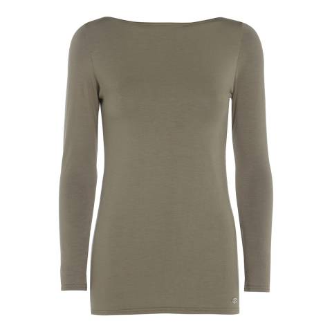 Belinda Robertson Khaki Madrid Long Sleeve Slash Neck Top