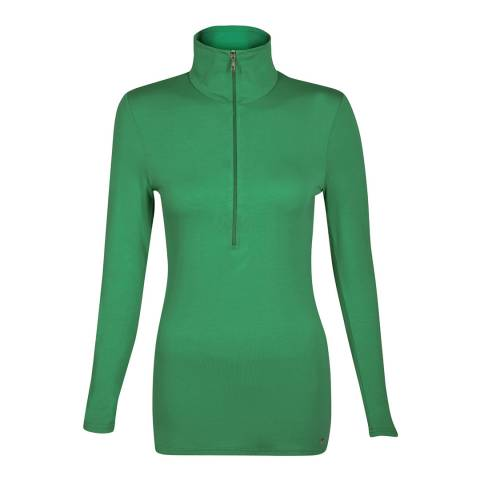 Belinda Robertson Emerald Green Verbier Zip Neck Top