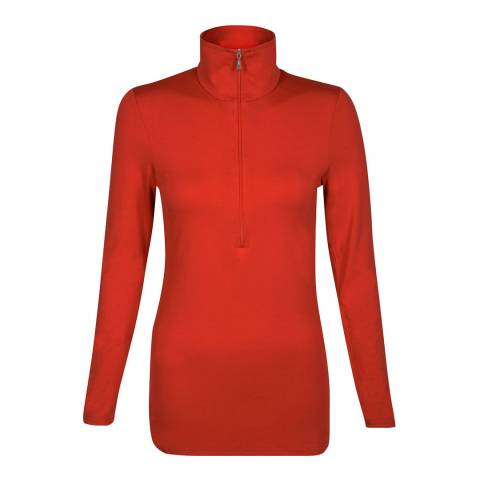 Belinda Robertson Rust Red Verbier Zip Neck Top