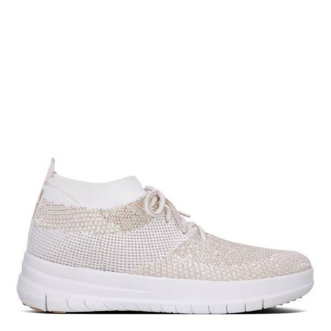 FitFlop Gold/White Uberknit High Top Sneakers