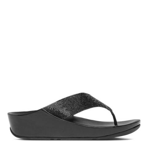 FitFlop Black Crystall Toe Thong Sandals