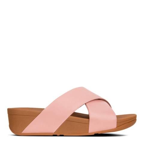 FitFlop Dusky Pink Leather Lulu Cross Slide Sandals