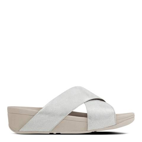 FitFlop Silver Lulu Cross Slide Shimmer Sandals