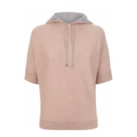Jaeger Light Pink/Grey Merino Wool Hooded Knitted T-shirt