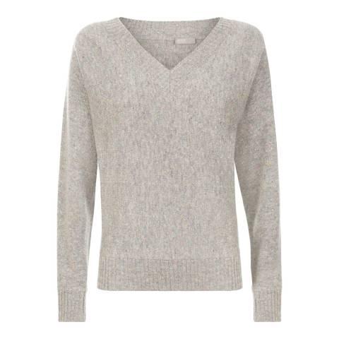 Jaeger Grey/Multi Donegal V-neck sweater