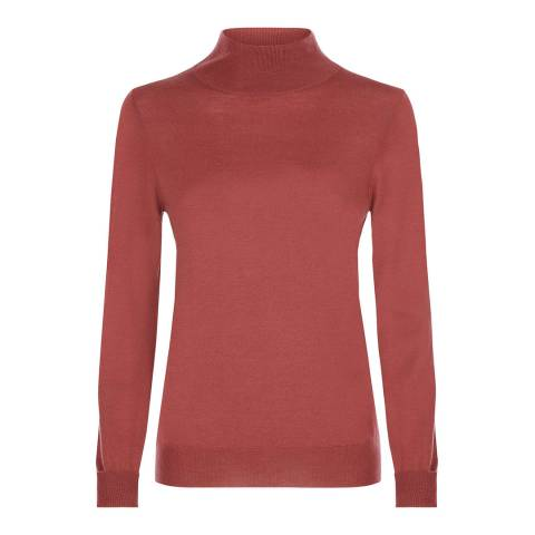 Jaeger Red Zip Roll Neck sweater