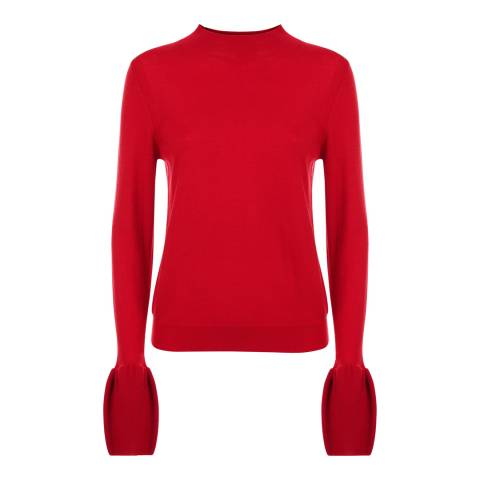 Jaeger Red Fluted Sleeve Sweater