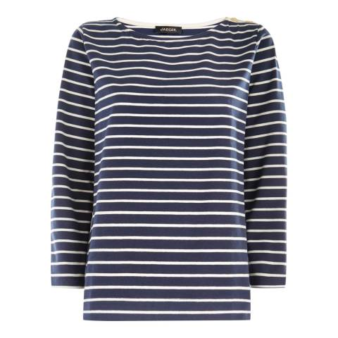 Jaeger Navy/Ivory Button Shoulder Breton Jersey