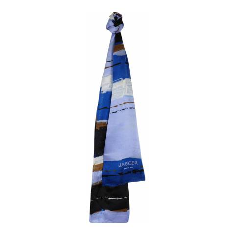 Jaeger Blue Multi Chalk Stripe Silk Scarf