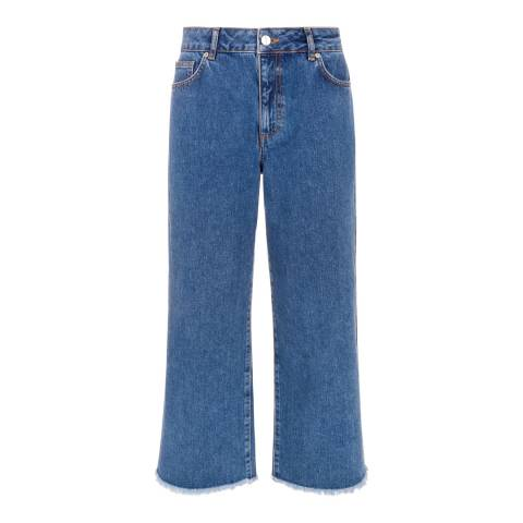 Jaeger Blue High Waisted Frayed Wide Leg Jeans