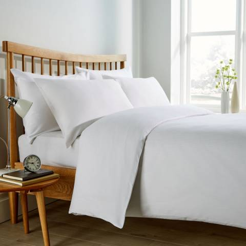 Behrens Pinstripe Double Duvet Cover Set, White