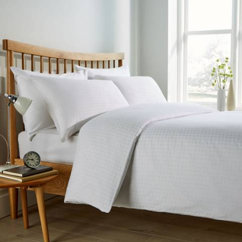 Behrens Micro Check Super King Duvet Set, White
