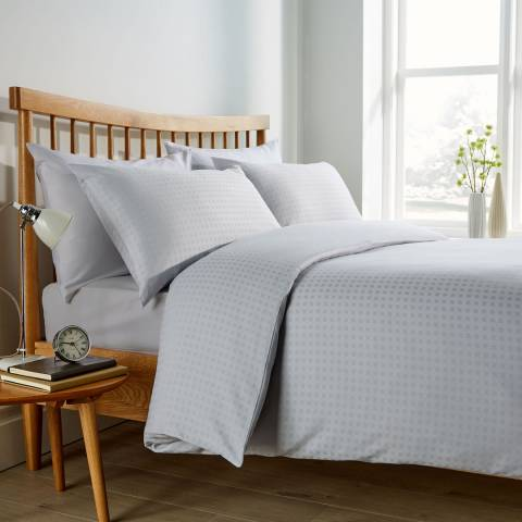 Behrens Micro Check Double Duvet Set, Grey