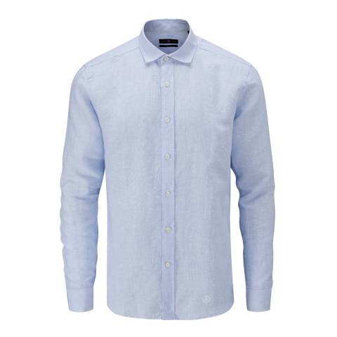 Henri Lloyd Blue Oban Linen Stripe Regular Shirt