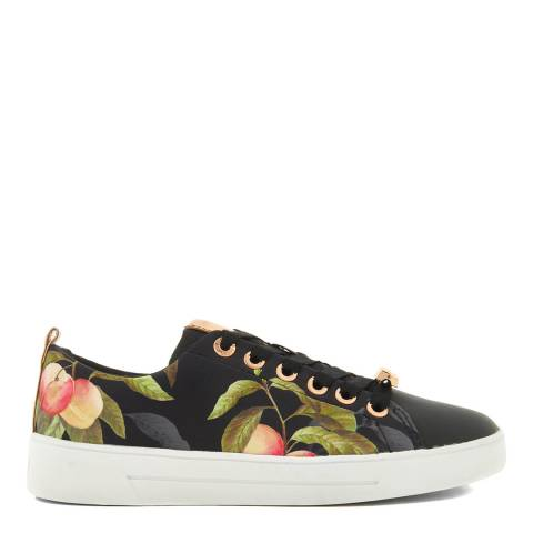 Ted Baker Black Satin Ahfira Peach Blossom Trainers