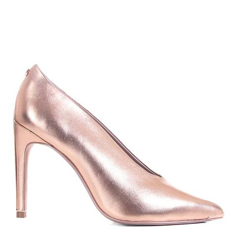 Ted Baker Rose Gold Leather Bexz Metallic Court Shoes