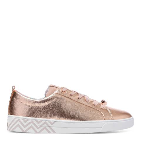 Ted Baker Rose Gold Leather Kelleip Metallic Trainers