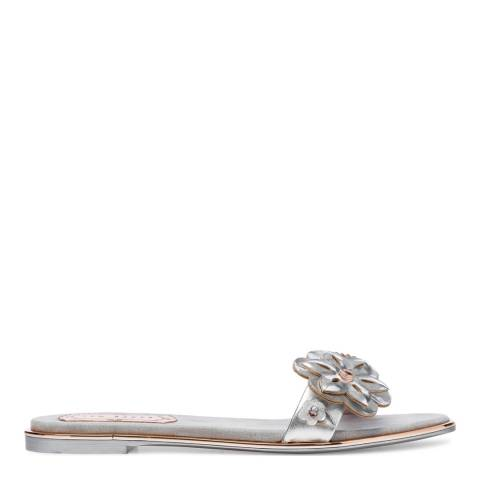 Ted Baker Silver Leather Keelia Flower Embellished Sandals