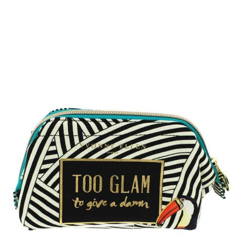 Yvonne Ellen Black and White Striped Cosmetic Bag