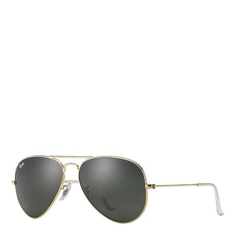 Ray-Ban Gold/Green Unisex Aviator Ray Ban Sunglasses 58mm