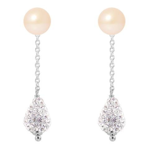 Wish List Silver Hanging Earrings With Pink Pearls