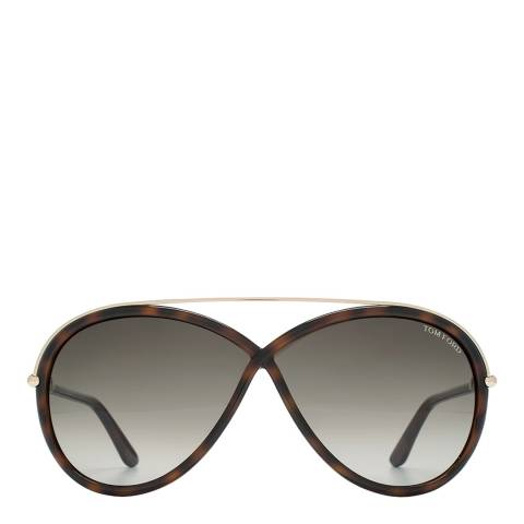 Tom Ford Women's Dark Havana and Gold Tamara Sunglasses 64mm