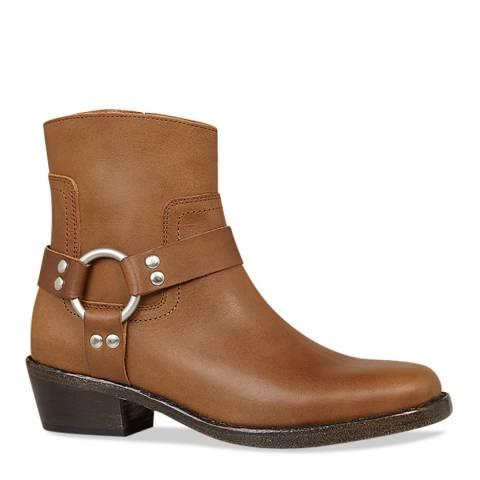 AllSaints Tan Haze Leather Ankle Boots