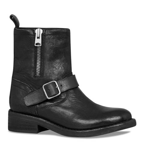 AllSaints Black Leather Classic Biker Boots