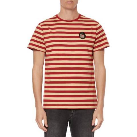 Kent & Curwen Crimson/Cream Gardner Stripe T-Shirt