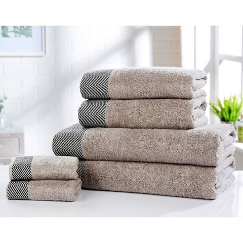 Rapport Tidal Set of 6 Towels, Natural