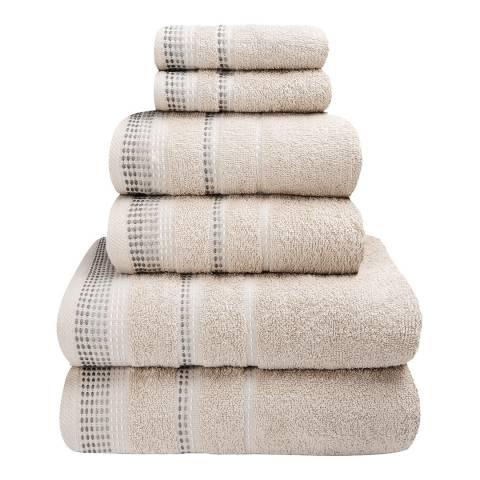Rapport Berkley Set of 6 Towels, Natural
