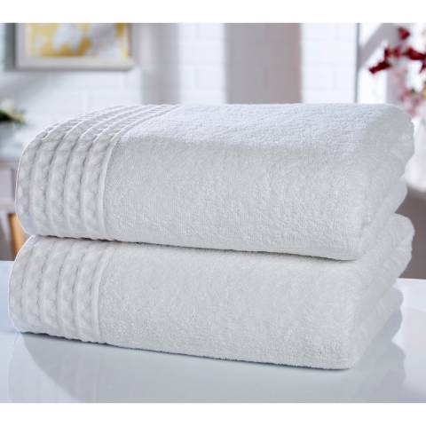 Rapport Retreat Pair of Bath Sheets, White
