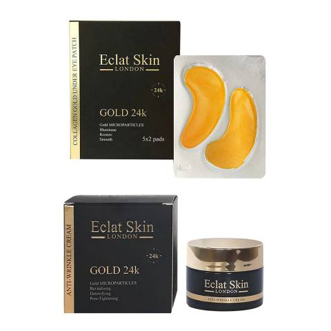 Eclat Skin London Anti-Wrinkle Moisturiser 24K Gold + Collagen Gold Under Eye Patch 24K Gold