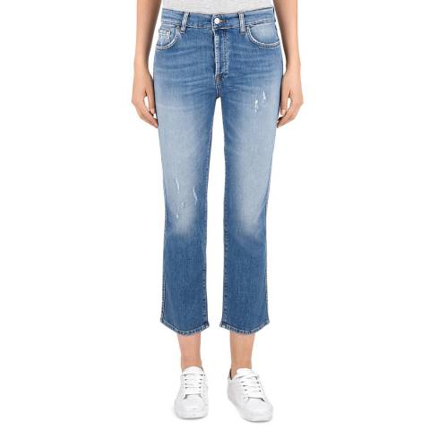 7 For All Mankind Blue Edie Cropped Stretch Jeans