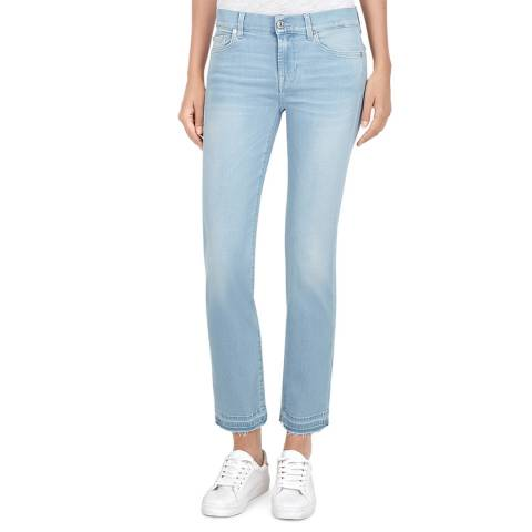 7 For All Mankind Blue Roxanne Luxe Cropped Straight Jeans