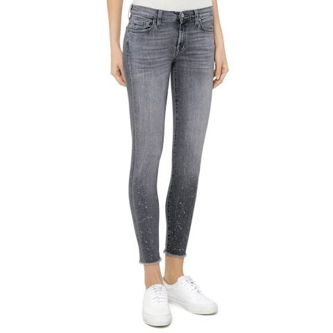 7 For All Mankind Grey Flecked The Skinny Crop Stretch Jeans