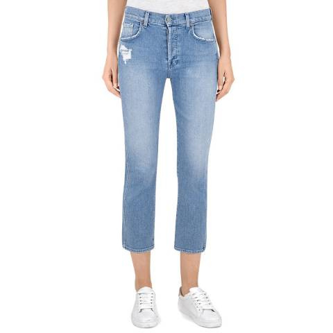 7 For All Mankind Blue Stripy Patched Edie Stretch Jeans