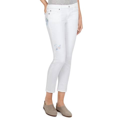 7 For All Mankind White Embroidered Pyper Cropped Jeans