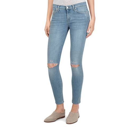 7 For All Mankind Blue Distressed The Skinny Crop Stretch Jeans