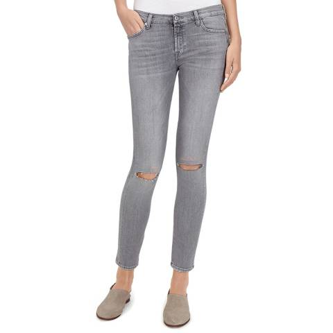 7 For All Mankind Grey Distressed The Skinny Crop Stretch Jeans