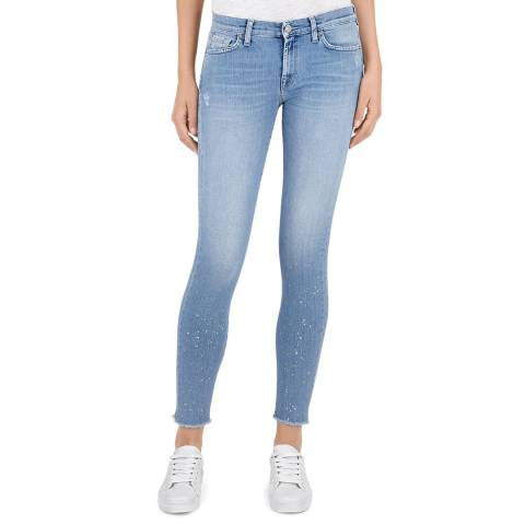 7 For All Mankind Blue Flecked The Skinny Crop Stretch Jeans