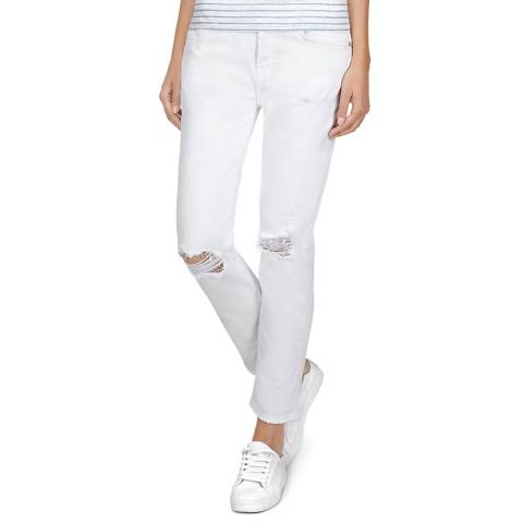7 For All Mankind White Distressed Josefina Stretch Jeans