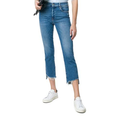 7 For All Mankind Blue Diagonal Hem Edie Stretch Jeans