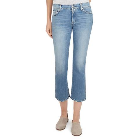 7 For All Mankind Blue Cropped Bootcut Stretch Jeans