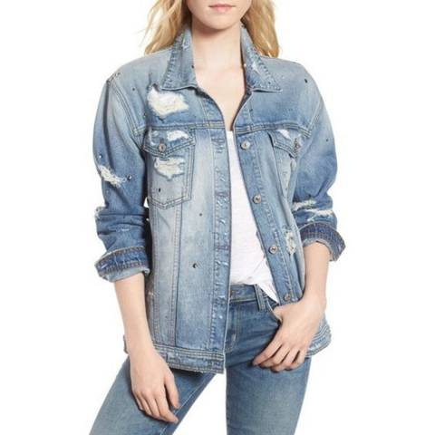 7 For All Mankind Light Blue Oversized Boyfriend Denim Jacket