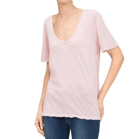 7 For All Mankind Pink Curved Neck Tee