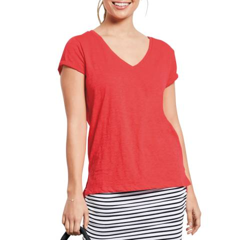 hush Orange Cotton Slub V T-Shirt