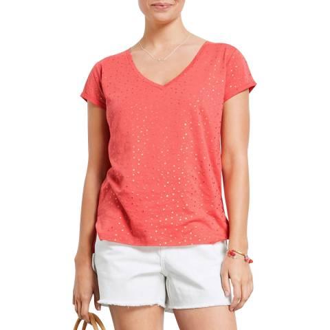 hush Pink/Rose Gold V Neck Mini Multi Star T-Shirt